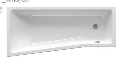 Ravak BeHappy II Aszimmetrikus kád 150 x 75 cm